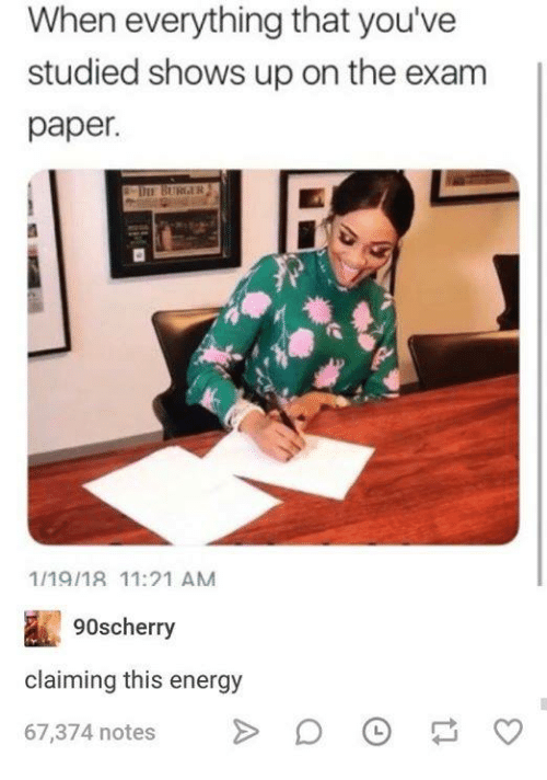 Energy, Humans of Tumblr, and Burger: When everything that you've  studied shows up on the exam  paper.  DIE BURGER  1/19/18 11:21 AM  90scherry  claiming this energy  67,374 notesO  o