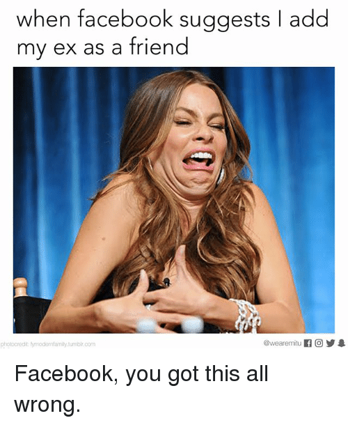 Facebook, Memes, and 🤖: when facebook suggests I add  my ex as a friend  @wearemitu  f CO  photocredit Nymodernfamily tumblroom Facebook, you got this all wrong.