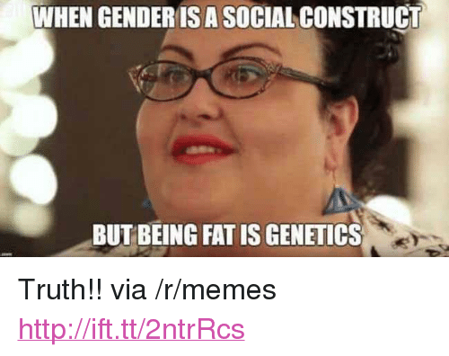 """Memes, Http, and Fat: WHEN GENDERISA SOCIAL CONSTRUCT  BUT BEING FAT IS GENETICS <p>Truth!! via /r/memes <a href=""""http://ift.tt/2ntrRcs"""">http://ift.tt/2ntrRcs</a></p>"""
