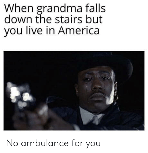 America, Grandma, and Live: When grandma falls  down the stairs but  you live in America No ambulance for you