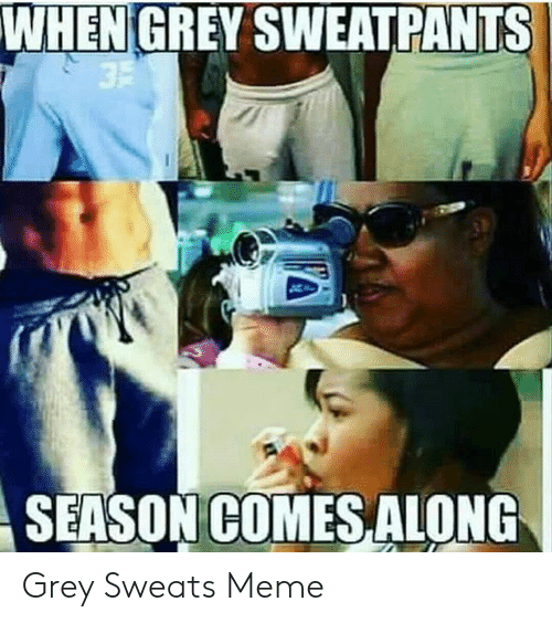 Meme, Grey, and Season: WHEN GREY SWEATPANTS  SEASON COMES ALONG Grey Sweats Meme