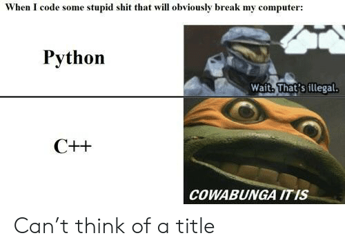 Shit, Break, and Computer: When I code some stupid shit that will obviously break my computer:  Python  Wait. That's illegal  COWABUNGA ITIS Can't think of a title