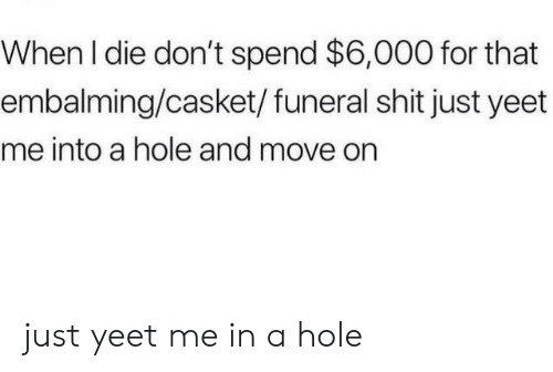 Shit, Hole, and Move: When I die don't spend $6,000 for that  embalming/casket/ funeral shit just yeet  me into a hole and move on just yeet me in a hole