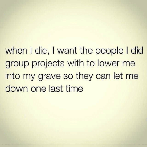 grave: when I die, I want the people I did  group projects with to lower me  into my grave so they can let me  down one last time