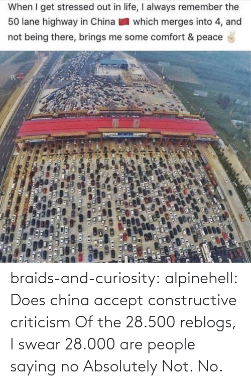 saying: When I get stressed out in life, I always remember the  50 lane highway in China  which merges into 4, and  not being there, brings me some comfort & peace braids-and-curiosity: alpinehell: Does china accept constructive criticism  Of the 28.500 reblogs, I swear 28.000 are people saying no    Absolutely Not. No.