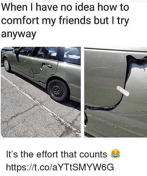 Friends, How To, and How: When I have no idea how to  comfort my friends but I try  anyway It's the effort that counts 😂 https://t.co/aYTtSMYW6G