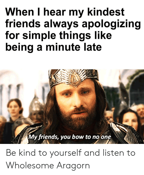 apologizing: When I hear my kindest  friends always apologizing  for simple things like  being a minute late  My friends, you bow to no one Be kind to yourself and listen to Wholesome Aragorn