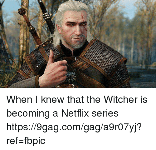 9gag, Dank, and Netflix: When I knew that the Witcher is becoming a Netflix series https://9gag.com/gag/a9r07yj?ref=fbpic