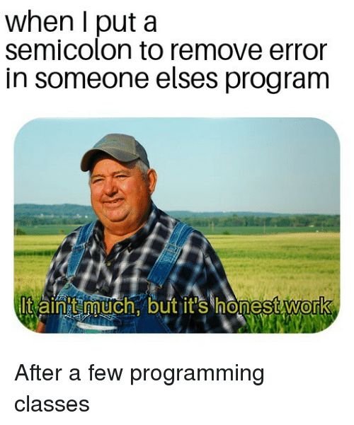 Work, Programming, and Program: when I put a  senmicoloun to remove error  in someone elses program  lt aintt much. but it's honest work  0 After a few programming classes