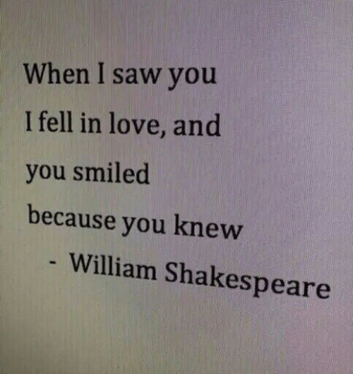 Love, Saw, and Shakespeare: When I saw you  I fell in love, and  you smiled  because you knew  William Shakespeare