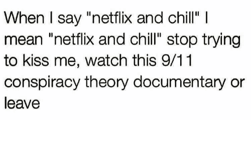 "9/11, Chill, and Netflix: When I say ""netflix and chill"" I  mean ""netflix and chill"" stop trying  to kiss me, watch this 9/11  conspiracy theory documentary or  leave"