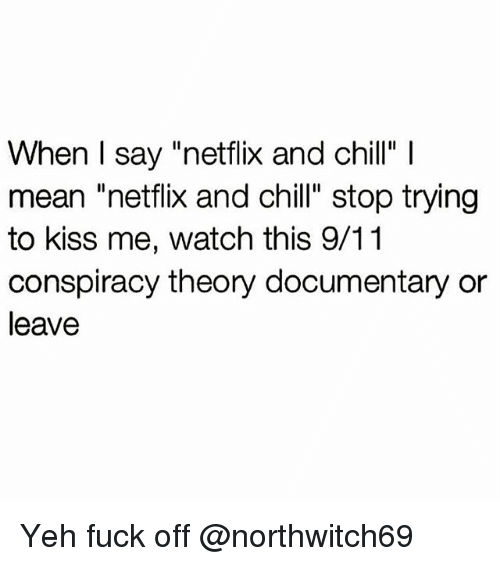 "Netflix And Chilling: When I say ""netflix and chill"" l  mean netflix and chill"" stop trying  to kiss me, watch this 9/11  conspiracy theory documentary or  leave Yeh fuck off @northwitch69"