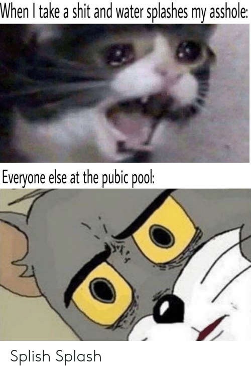 splashes: When I take a shit and water splashes my asshole:  Everyone else at the pubic pool: Splish Splash