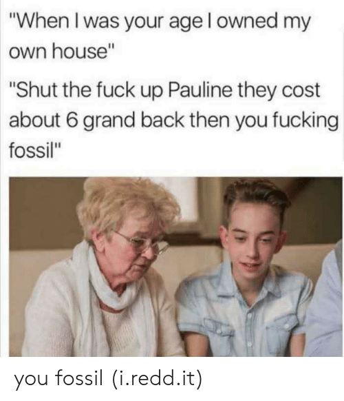 "Fucking, Fossil, and Fuck: ""When I was your age l owned my  own house""  ""Shut the fuck up Pauline they cost  about 6 grand back then you fucking  fossil"" you fossil (i.redd.it)"