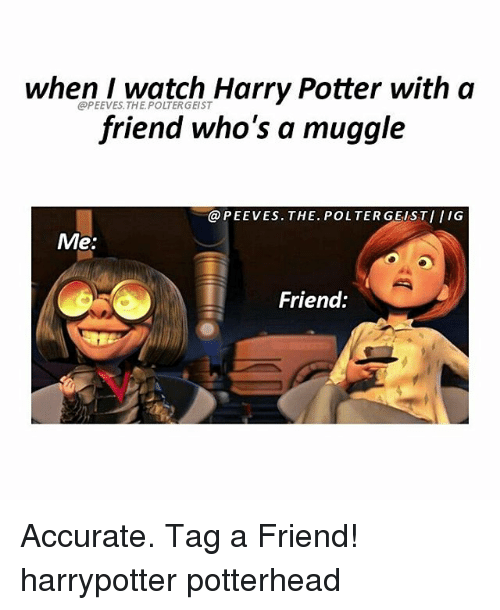 Harry Potter, Memes, and Watch: when I watch Harry Potter with a  friend who's a muggle  @PEEVES.THE. POLTERGEIST  @PEEVES. THE. POLTER GEISTIIIG  Me:  Friend: Accurate. Tag a Friend! harrypotter potterhead
