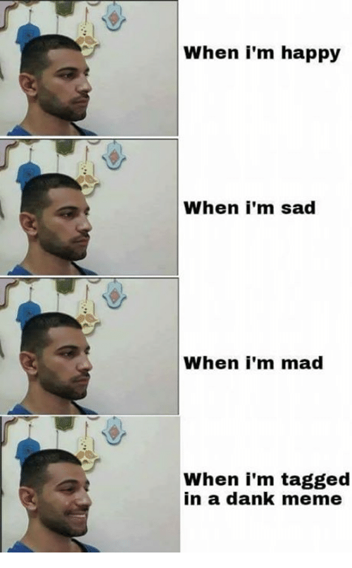 Dank Memees: When i'm happy  When i'm sad  When i'm mad  When i'm tagged  in a dank meme