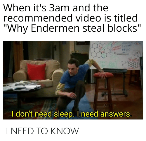 """Funny, Video, and Sleep: When it's 3am and the  recommended video is titled  """"Why Endermen steal blocks""""  CTV  I don't need sleep. I need answers. I NEED TO KNOW"""
