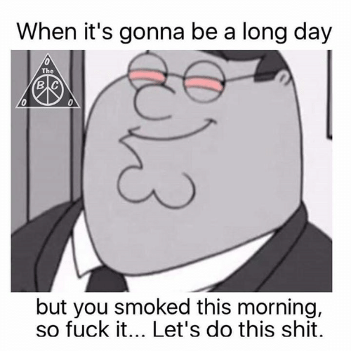 Its Gonna Be: When it's gonna be a long day  The  в с  0  but you smoked this morning,  so fuck it... Let's do this shit.