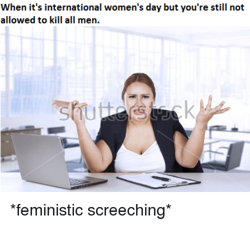 International Women's Day, International, and Day: When it's international women's day but you're still not  allowed to kill all men. <p>*feministic screeching*</p>
