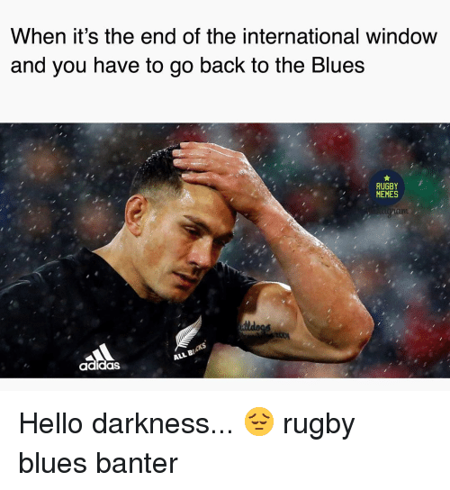 Adidas, Hello, and Memes: When it's the end of the international window  and you nave to go back to the Blues  RUGBY  MEMES  adidas  ALL B Hello darkness... 😔 rugby blues banter