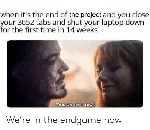 "Laptop, Time, and Rest: when it's the end of the project and you close  your 3652 tabs and shut your laptop down  for the first time in 14 weeks  You can rest now."" We're in the endgame now"
