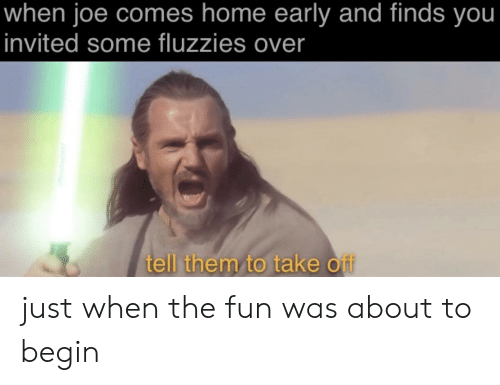 Home, Dank Memes, and Fun: when joe comes home early and finds you  invited some fluzzies over  tell them to take off just when the fun was about to begin