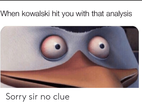 Sorry, Dank Memes, and Clue: When kowalski hit you with that analysis Sorry sir no clue
