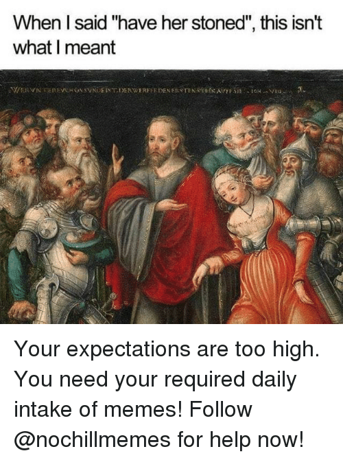 "Memes, Help, and Too High: When l said ""have her stoned"", this isn't  what I meant Your expectations are too high.  You need your required daily intake of memes! Follow @nochillmemes for help now!"