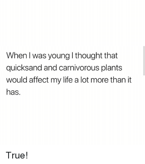 Life, Memes, and True: When l was young l thought that  quicksand and carnivorous plants  would affect my life a lot more than it  has. True!