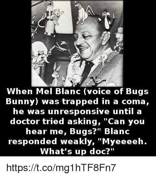 """Bugs Bunny, Doctor, and Voice: When Mel Blanc (voice of Bugs  Bunny) was trapped in a coma,  he was unresponsive until a  doctor tried asking, Can youu  hear me, Bugs?"""" Blanc  responded weakly, """"Myeeeeh.  What's up doc?"""" https://t.co/mg1hTF8Fn7"""