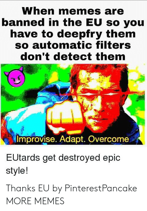 Adapte: When memes are  banned in the EU so you  have to deepfry them  so automatic filters  don't detect them  Improvise. Adapt. Overcome  EUtards get destroyed epic  style! Thanks EU by PinterestPancake MORE MEMES