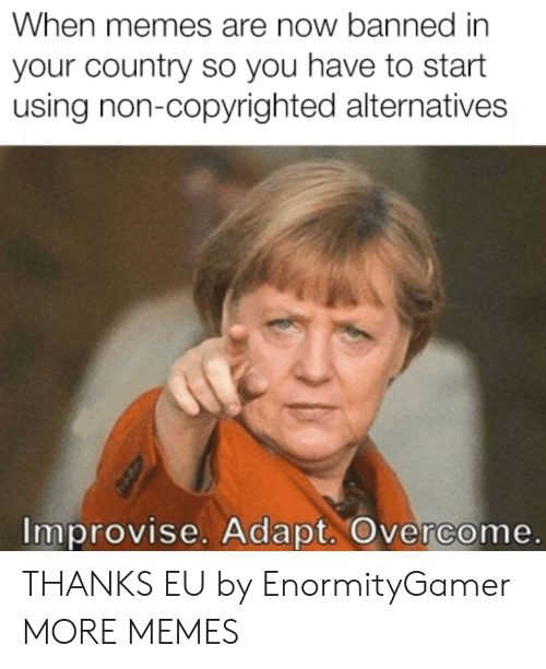 Adapte: When memes are now banned in  your country so you have to start  using non-copyrighted alternatives  Improvise. Adapt. Overcome. THANKS EU by EnormityGamer MORE MEMES
