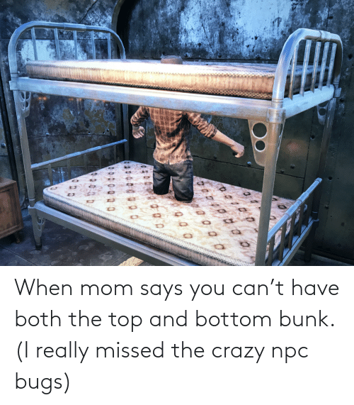 Says You: When mom says you can't have both the top and bottom bunk. (I really missed the crazy npc bugs)