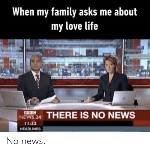 Family, Life, and Love: When my family asks me about  my love life  8BC  NEWS 24  THERE IS NO NEWS  11:32  HEADLINES No news.