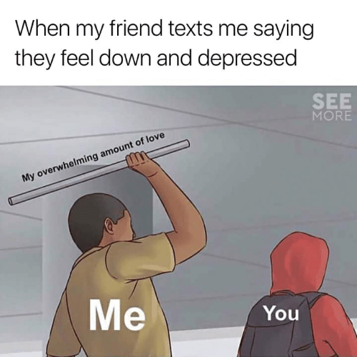 Overwhelming Amount: When my friend texts me saying  they feel down and depressed  SEE  MORE  My overwhelming amount of love  Me  You