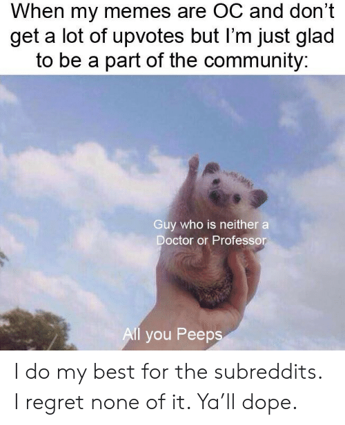 My Memes Are: When my memes are OC and don't  get a lot of upvotes but I'm just glad  to be a part of the community:  Guy who is neither a  Doctor or Professor  Al you Peeps I do my best for the subreddits. I regret none of it. Ya'll dope.