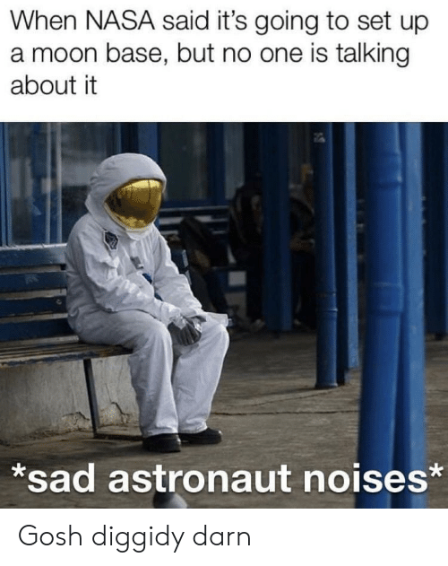 Nasa, Moon, and Sad: When NASA said it's going to set up  a moon base, but no one is talking  about it  sad astronaut noises* Gosh diggidy darn