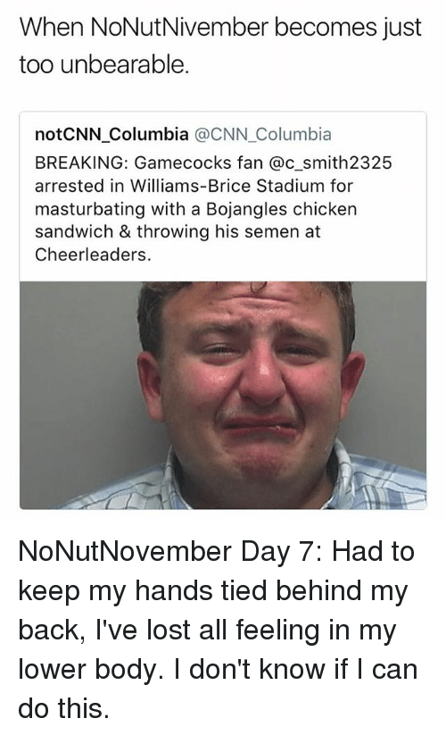 cnn.com, Funny, and Lost: When NoNutNivember becomes just  too unbearable.  notCNN Columbia @CNN_Columbia  BREAKING: Gamecocks fan @c smith2325  arrested in Williams-Brice Stadium for  masturbating with a Bojangles chicker  sandwich & throwing his semen at  Cheerleaders. NoNutNovember Day 7: Had to keep my hands tied behind my back, I've lost all feeling in my lower body. I don't know if I can do this.