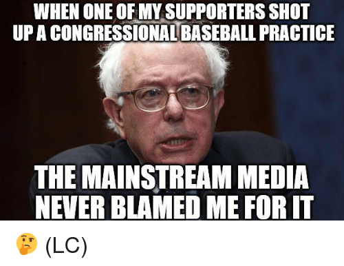Baseball, Memes, and Never: WHEN ONE OF MY SUPPORTERS SHOT  UP A CONGRESSIONAL BASEBALL PRACTICE  THE MAINSTREAM MEDIA  NEVER BLAMED ME FOR IT 🤔 (LC)