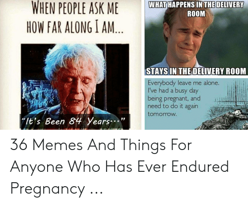"Being Alone, Do It Again, and Memes: WHEN PEOPLE ASK  WHAT HAPPENS IN THE DELIVERY  ROOM  HOW FAR ALONG I AM  STAYS IN THE OELIVERY ROOM  LI  Everybody leave me alone.  l've had a busy day  being pregnant, and  need to do it again  tomorrow  ""It's Been 84 Years. 36 Memes And Things For Anyone Who Has Ever Endured Pregnancy ..."