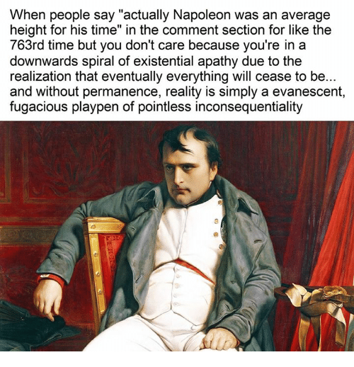 """Evanescence: When people say """"actually Napoleon was an average  height for his time"""" in the comment section for like the  763rd time but you don't care because you're in a  downwards spiral of existential apathy due to the  realization that eventually everything will cease to be...  and without permanence, reality is simply a evanescent,  fugacious playpen of pointless inconsequentiality"""