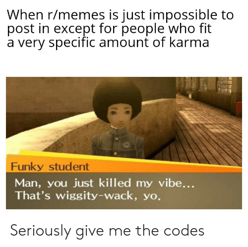 Memes, Yo, and Karma: When r/memes is just impossible to  post in except for people who fit  a very specific amount of karma  Funky student  Man, you just killed my vibe...  That's wiggity-wack, yo. Seriously give me the codes