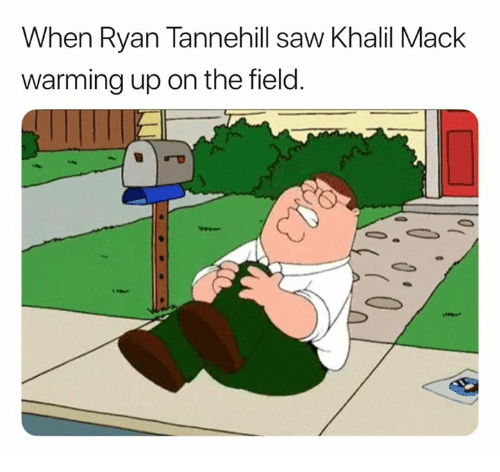 Nfl, Saw, and Ryan: When Ryan Tannehill saw Khalil Mack  warming up on the field.