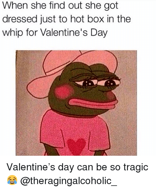 Memes, Valentine's Day, and Whip: When she find out she got  dressed just to hot box in thee  whip for Valentine's Day Valentine's day can be so tragic 😂 @theragingalcoholic_