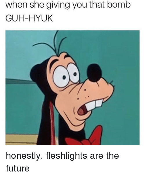 fleshlights: when she giving you that bomb  GUH-HYUK honestly, fleshlights are the future
