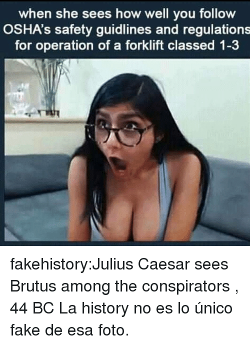 Fake, Tumblr, and Blog: when she sees how well you follow  OSHA's safety guidlines and regulations  for operation of a forklift classed 1-3 fakehistory:Julius Caesar sees Brutus among the conspirators , 44 BC La history no es lo único fake de esa foto.