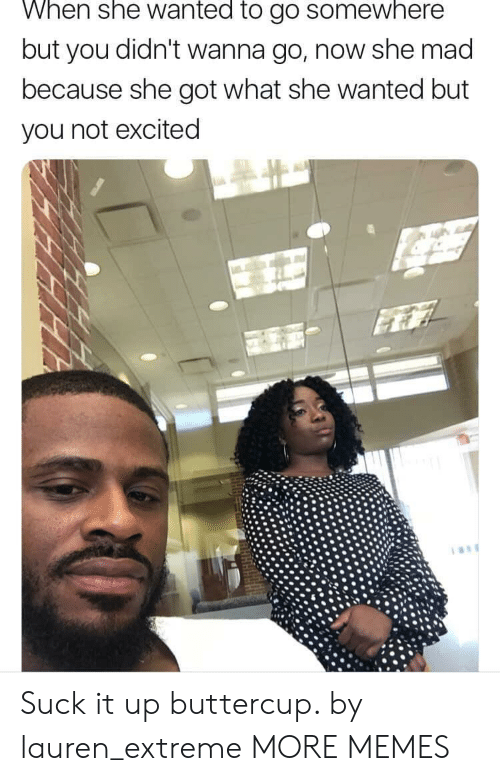 Dank, Memes, and Target: When she wanted to go somewhere  but you didn't wanna go, now she mad  because she got what she wanted but  you not excited Suck it up buttercup. by lauren_extreme MORE MEMES