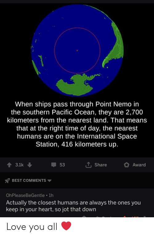 Love, Best, and Heart: When ships pass through Point Nemo in  the southern Pacific Ocean, they are 2,700  kilometers from the nearest land. That means  that at the right time of day, the nearest  humans are on the International Space  Station, 416 kilometers up  Share  53  3.1k  Award  BEST COMMENTS  OhPleaseBeGentle 1h  Actually the closest humans are always the ones you  keep in your heart, so jot that down Love you all ❤️
