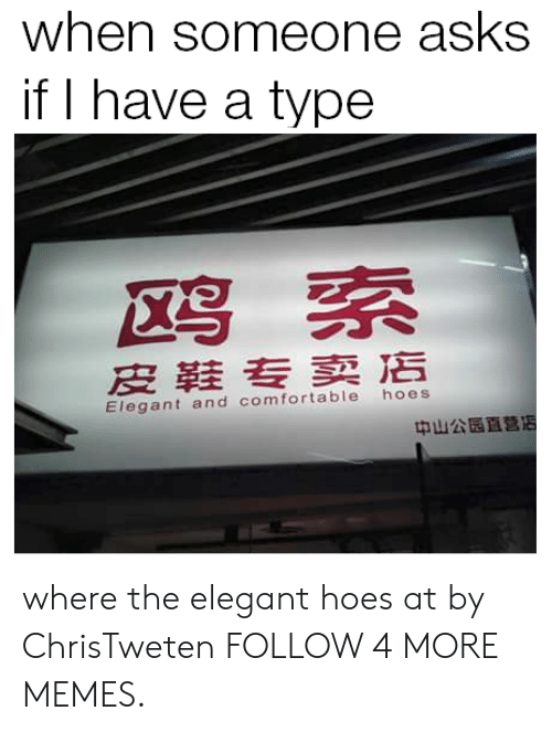Hoes At: when someone asks  if I have a type  鸥索  皮鞋专卖店  hoes  Elegant and comfortable  中山公园直营店 where the elegant hoes at by ChrisTweten FOLLOW 4 MORE MEMES.