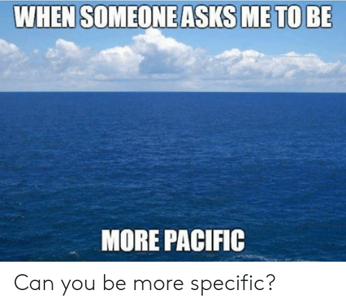 Dank, Asks, and 🤖: WHEN SOMEONE ASKS ME TO BE  MORE PACIFIC Can you be more specific?